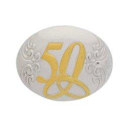 applicazione argento ovale 50 anniversario nozze oro