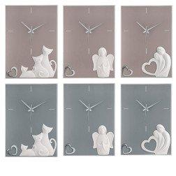 Orologi da parete Moderni Tortora e Grigio con argento