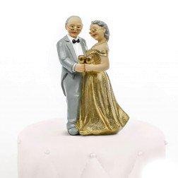 centro torta per nozze oro 50 anniversario coppia sposi
