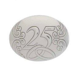 applicazione argento ovale 25 anniversario nozze argento