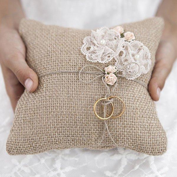 Famoso cuscino portafedi yuta per matrimonio shabby chic Per MO16