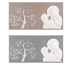 capezzale moderno maternità in marmo e albero della vita argento su base in legno tortora o grigio 90X45