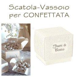 SCATOLA - VASSOIO portaconfetti per confettata con scritta GUSTO