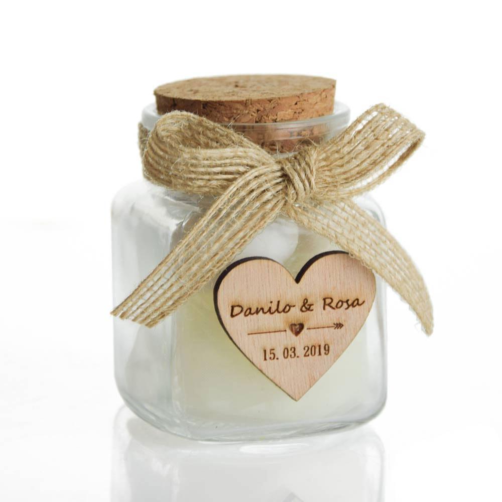 bomboniere personalizzate matrimonio barattolino rustico con cuore inciso