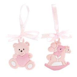 bomboniera ciondolo orso e cavallo a dondolo rosa