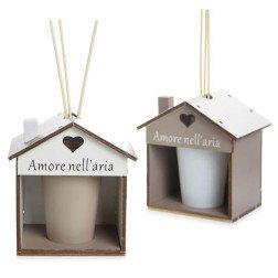 Bomboniera utile diffusore forma di casa in ceramica e legno