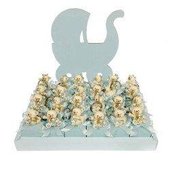 torta quadra 24 pezzi con portachiavi orso celeste