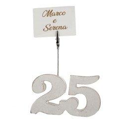 idea nozze argento numero 25 legno clip