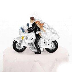 cake topper sposi su moto per torta matrimonio