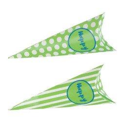 scatolina cono portaconfetti verde pois righe per bomboniere 18 compleanno verde