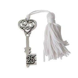 ciondolo per bomboniere nozze argento chiave 25° anniversario