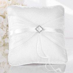cuscino porta fedi per matrimonio bianco con fibbia quadrata