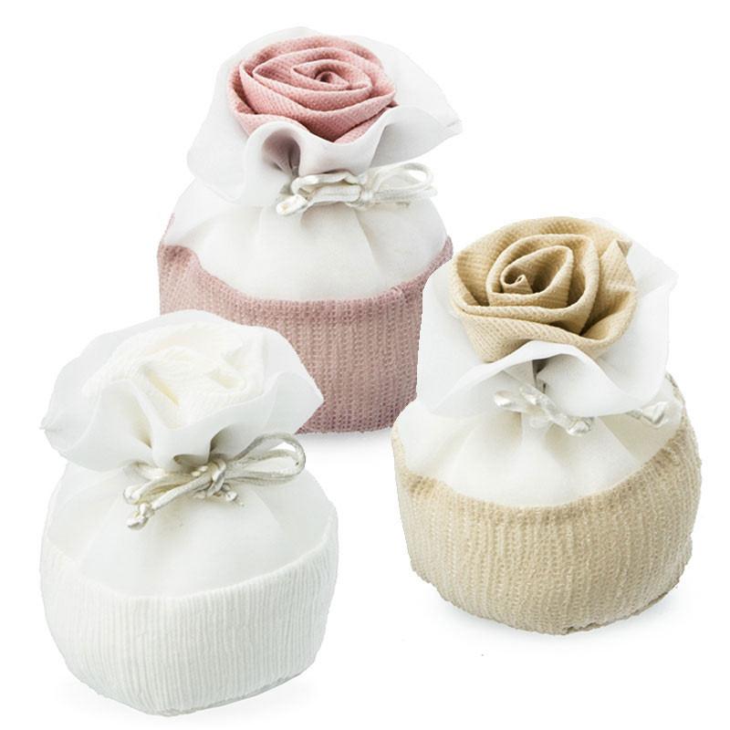 Sacchetti Porta-confetti eleganti in tessuto con Rosa