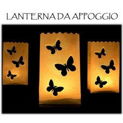 10 lanterne farfalla da appoggio con candela