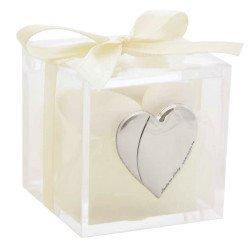 bomboniere matrimonio scatolina portaconfetti placca cuore argento
