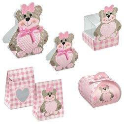 scatoline porta confetti per battesimo e nascita rosa