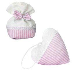 sacchetti porta confetti a righe rosa per battesimo e nascita