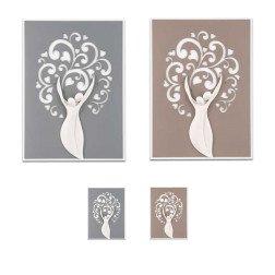 quadro moderno coppia con albero della vita in marmo su base in legno tortora o grigio