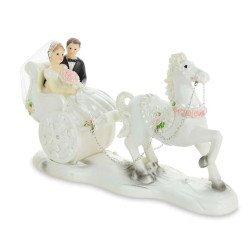 cake topper sposi su carrozza e cavallo bianco