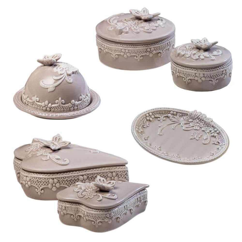 Super bomboniere porcellana per matrimonio tortora shabby GE04