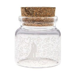 barattolino portaconfetti vetro trasparente e tappo di sughero con disegno sposi