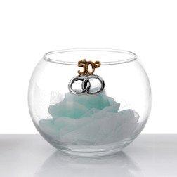 sfera in vetro con candela profumata e applicazione 50° anniversario in argento
