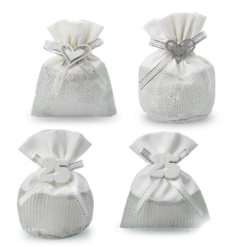 Confetti Bomboniere Matrimonio.Sacchettini Porta Confetti Nozze D Argento 25 Anni