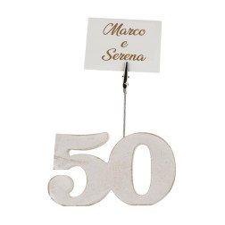 idea nozze oro numero 50 legno clip