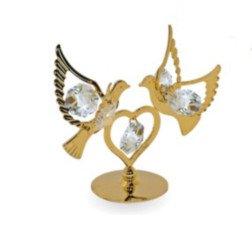 bomboniera nozze oro coppia colombe con Swarovski