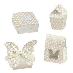 scatoline portaconfetti beige a pois bianchi shabby chic