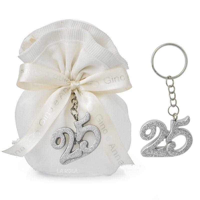 Bomboniere Per 25 Matrimonio.Bomboniere Nozze D Argento Portachiavi 25 Anniversario