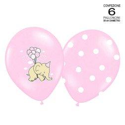 conf. 6 palloncini rosa con elefanti-pois assortiti per battesimo e nascita 30 cm