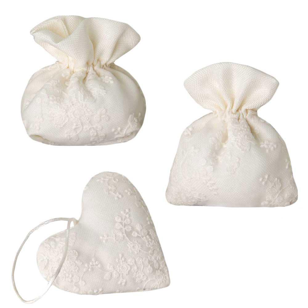 Sacchetti porta confetti avorio elegante con ricamo - Cesti porta bomboniere matrimonio ...