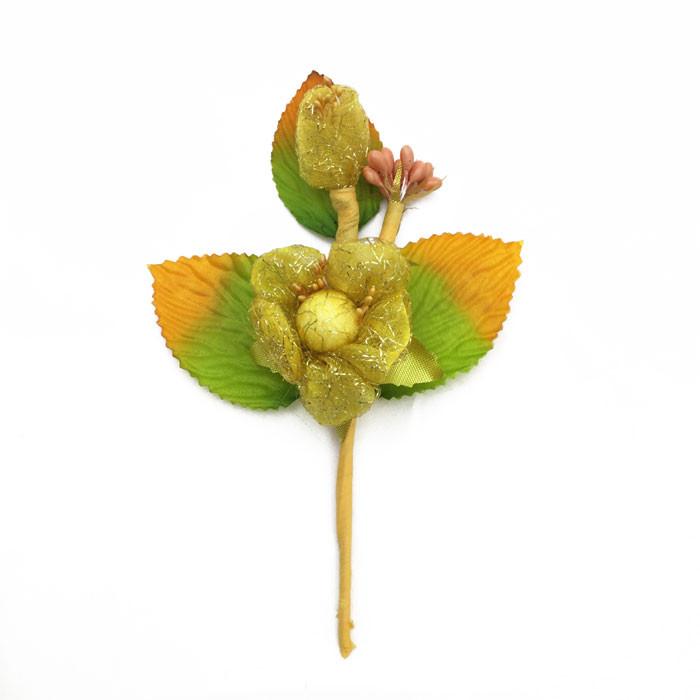 rametto fiore oro con foglie 15 cm