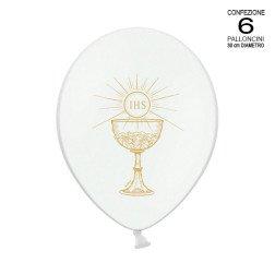 confezione 6 palloncini con simbolo comunione 30 cm