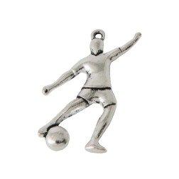 ciondolo calciatore che calcia il pallone in metallo per bomboniere