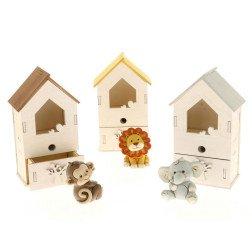 bomboniere animali con box legno temperino