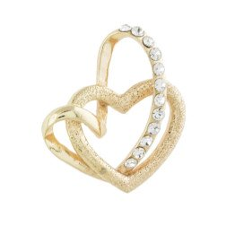 ciondolo doppio cuore intrecciato oro con strass per bomboniere