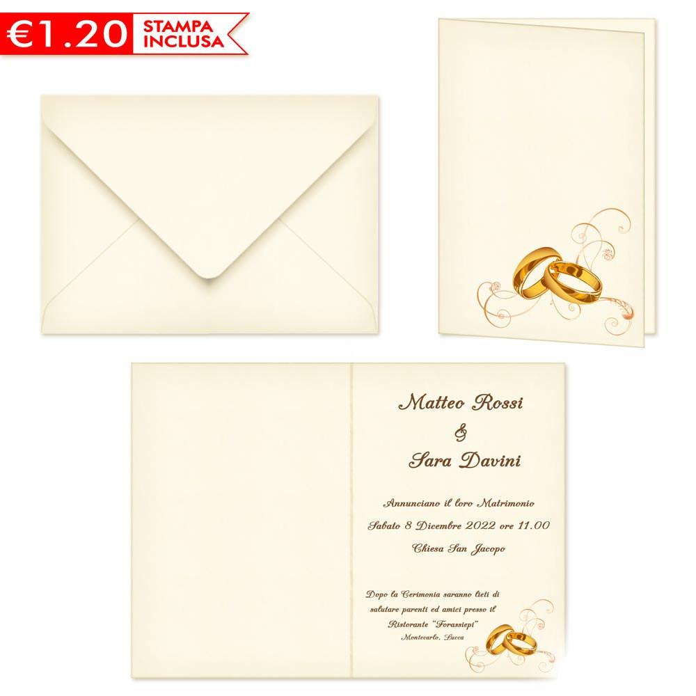 Stampa Partecipazioni Matrimonio.Partecipazioni Matrimonio Con Fedi 2020 Stampa Omaggio