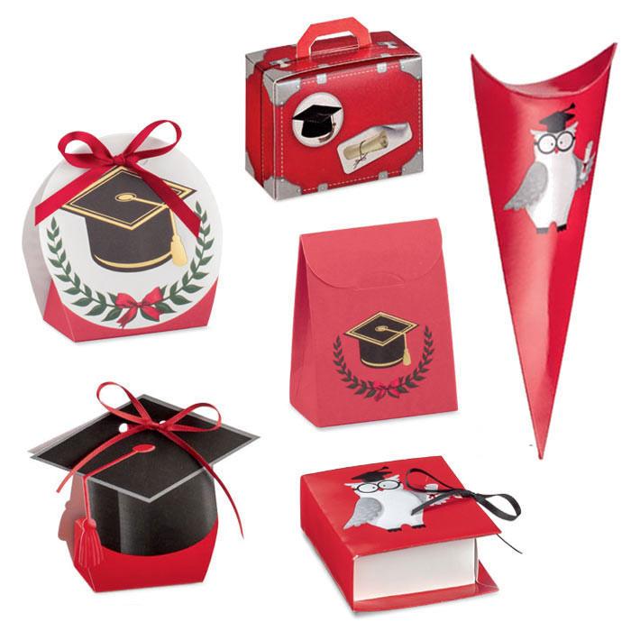 scatoline rosse portaconfetti per laurea tocco e gufo f0cb26546d3e