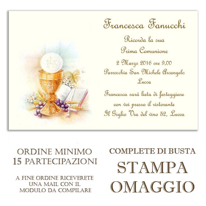 Partecipazioni Matrimonio Da Compilare E Stampare.Partecipazione Invito Con Calice Per Comunione Online