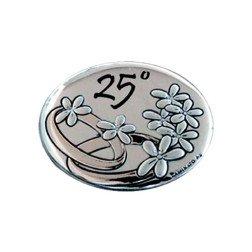 applicazione placca ovale 25°anniversario nozze argento