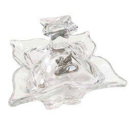 bomboniera nozze argento scatola in vetro con placca 25 anniversario