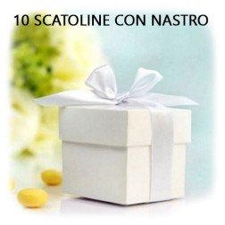 10 scatoline porta confetti bianche con nastro
