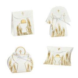 scatoline porta confetti bianche per bomboniere comunione con calice e spighe oro
