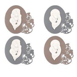 quadro moderno maternità e sacra famiglia stilizzata in marmo su base in legno tortora o grigio con cuori
