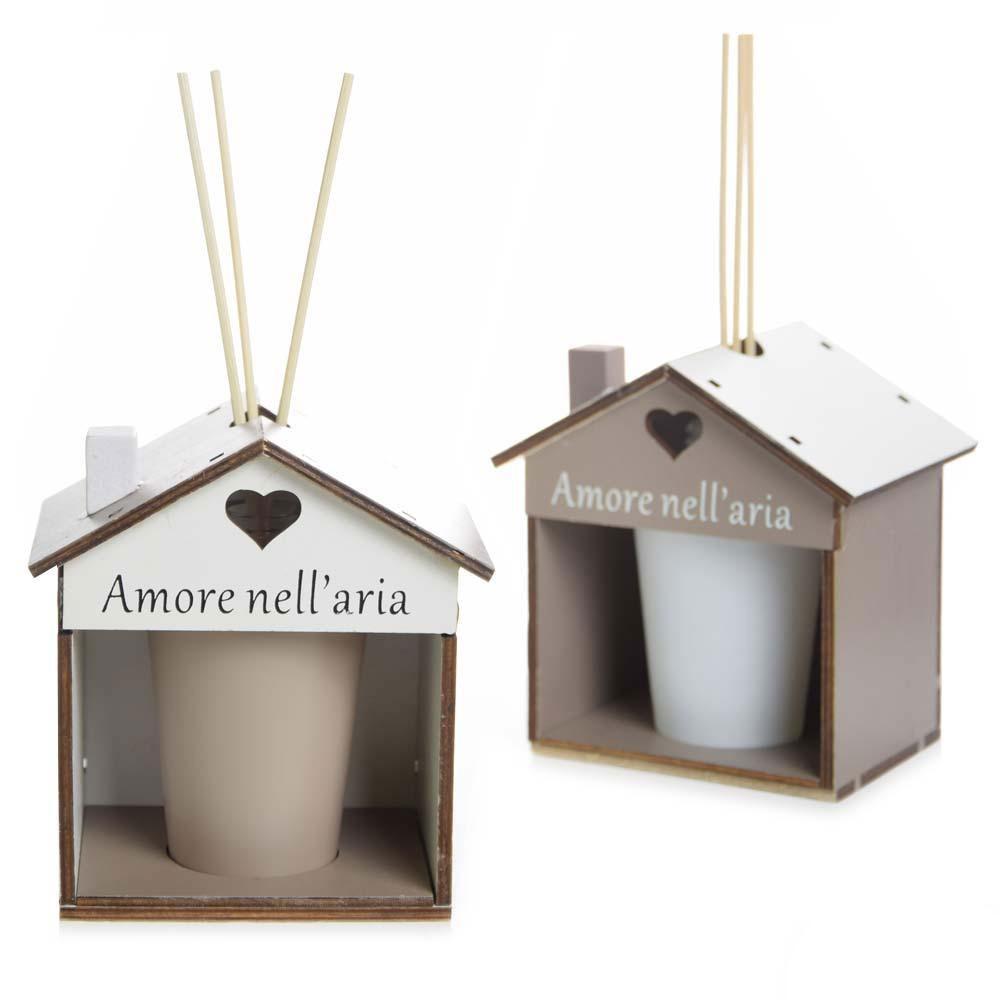 Bomboniera utile diffusore forma di casa in ceramica e for Casa a forma di v