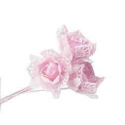 fiore rosellina in tessuto e pizzo rosa per bomboniere
