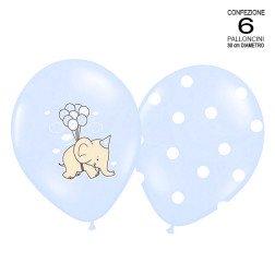 conf. 6 palloncini celeste con elefanti-pois assortiti per battesimo e nascita 30 cm