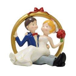cake topper matrimonio sposo e sposa seduti nella fede